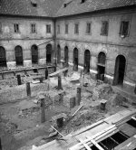 Excavation in the monastery's paradise garden during reconstruction (1964), view from southwest. © Prague Castle Administration. Photo S. Žižková, 1964.