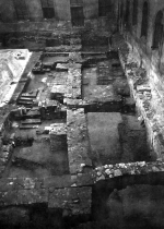 Excavation in the monastery's paradise garden, view from the north. The relics of the Romanesque wing of the monastery. Unknown author, 1961–1962. © ARÚ Praha, inv. No. FT000064426.