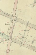 Survey of the so-called Romanesque bridge and finds in its surroundings. An cut-out from the plan of G. Varvábovský from 1931. © Archiv hl. m. Prahy, Collection of maps and plans, sign. MAP P II 1/2741, sheets m, r, s, l.