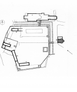 Situation plan of the medieval Vyšehrad with the position of the Basilica of St. Lawrence.