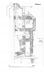 Plan of the exposed walls of the basilica and older pre-Romanesque buildings. According to B. Nechvátal.