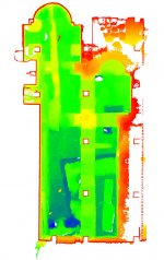 3D model of the height conditions of basilian masonry (Z. Marek, M. Semerád). Relics of masonry of St. Lawrence (red, partly yellow) and the remains of the masonry of the inner southwest corner of the older pre-Romanesque building (blue). Remediation project in 2011.