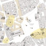 Old Town Square with the most important archaeological finds and vanished buildings (marked with a number and brown color). Preserved floors of Romanesque block houses are marked in black, today situated mostly at the basement level (Boháčová - Podliska ed. 2017, 168).