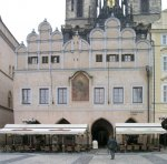 The renaissance facade of the Týn School on the eastern side of the Old Town Square mounts on the Gothic arcade. View from the east. Photo by J. Hlavatý.