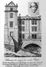 The original form of the Old Town of Judith Bridge, which was incorporated into the Monastery of the Knights of the Cross with the Red Star, was captured by W. F. Welleb in 1827. In the upper corner of the Bradáč sculpture (Welleba 1827).