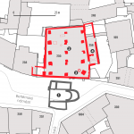 The situation of the Bethlehem chapel and adjacent buildings of the preacher in the level of its basement. 1 - the defunct church of St. Philip and Jacob; 2 - Bethlehem Chapel; 3 - Medieval well in the basement of the chapel; 4 - Gothic cellars under the sacristy of the chapel and the preacher's residence.
