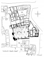 Plan of the Bethlehem Chapel and its surroundings from 1783 with the drawing of the Church of St. Philip and Jacob discovered in 1948. 1 - the original sacristy; 2, 3 - Jesuit sacristy; 2 - mazhaus; 3 - room next to the mazhaus; 4 - well; 5 - Hus's inscription; 6, 7 - Jacob´s inscriptions; A - entrance to the mazhaus; B - entrance to the pulpit; C - window to the room next to mazhauzu; D - portal to the sacristy; E - eastern entrance to the chapel; F - large eastern window; G - large western window; H - small western windows (Kubiček 1953).