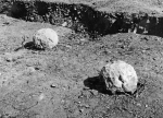 A pair of slingstones found during the archaeological research of the castle in 1928 and 1929. Author unknown; © ARÚ Prague, FT000081739B.