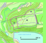 Plan of the hillfort in Hostivař on the basis of measurement results from 2008 1 - the central area of the hillfort; 2 - northern presbytery; 3 - western bailey; 4 - assumed space of the original gate (according to R. Křivánek). Map background © ČÚZK.