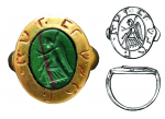 Gold ring with Hebrew inscription and antique gem found in the context of one of the Romanesque houses. Photo J. Žegklitz; drawing I. Skokanová, 2006, Archaia Praha.